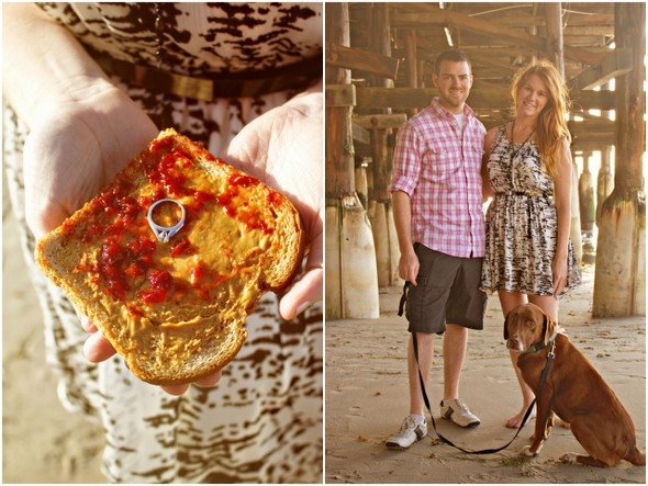 peanut butter and jelly proposal San Diego Beach Engagement Session with Peanut Butter & Jelly!