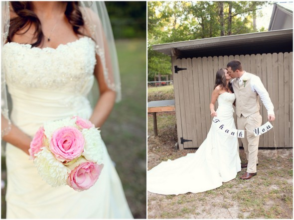 pink white backyard wedding Rustic Backyard Wedding by Adria Peaden Photography