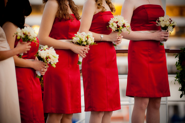 red bridesmaids ship deck wedding Long Beach Wedding on the Queen Mary Ship