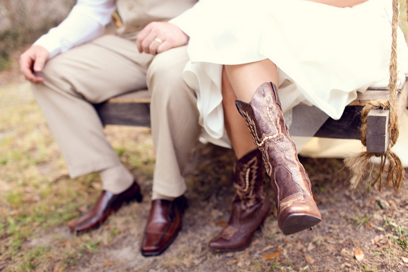 rustic bride cowgirl boots Rustic Backyard Wedding by Adria Peaden Photography