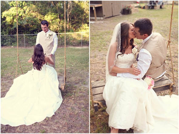 rustic swing wedding photo Rustic Backyard Wedding by Adria Peaden Photography