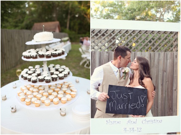 rustic themed cupcakes Rustic Backyard Wedding by Adria Peaden Photography