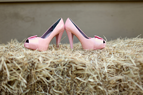 rustic wedding pink shoes Rustic Backyard Wedding by Adria Peaden Photography