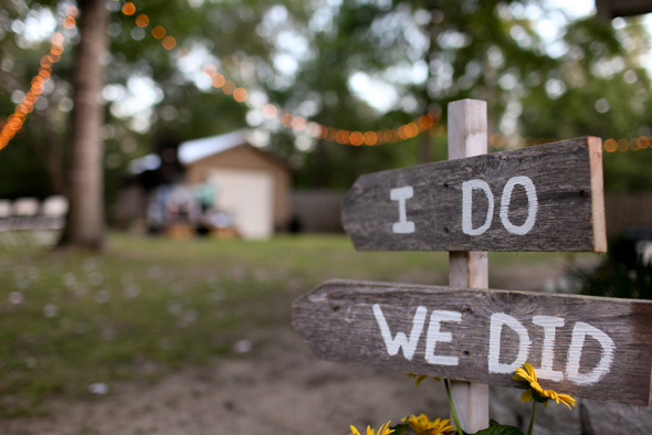 rustic wedding signs Rustic Backyard Wedding by Adria Peaden Photography