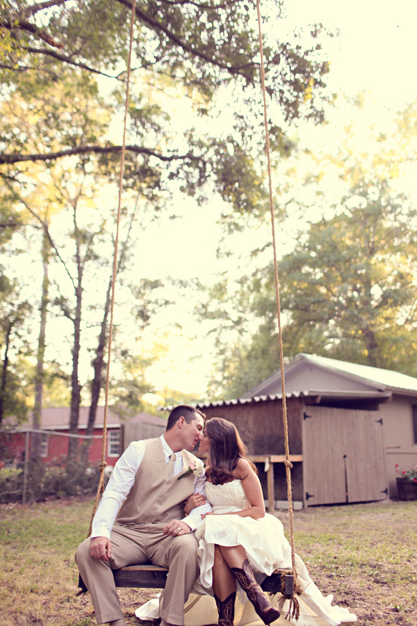 rustic wedding swing Rustic Backyard Wedding by Adria Peaden Photography