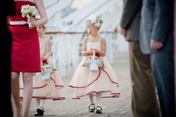 ship deck wedding flowergirl Long Beach Wedding on the Queen Mary Ship