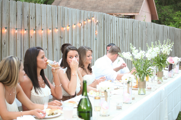simple backyard wedding table Rustic Backyard Wedding by Adria Peaden Photography