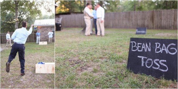 wedding bean bag toss Rustic Backyard Wedding by Adria Peaden Photography
