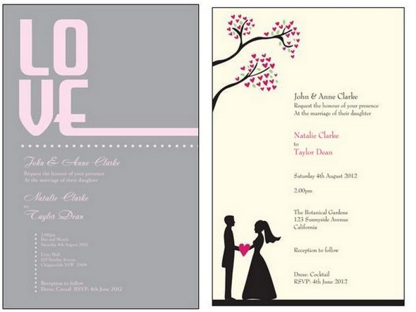 Whimsical Pink & Grey Invitations