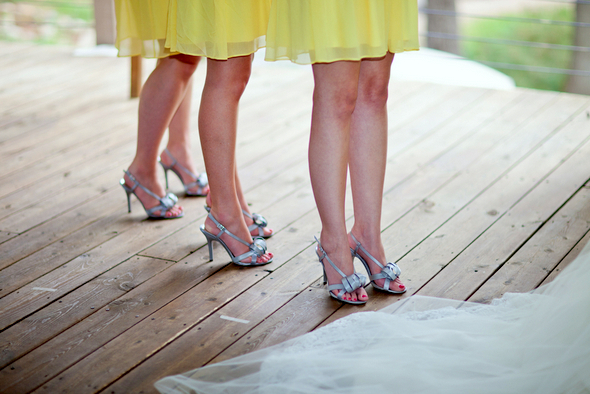 Yellow Bridesmaids with Silver Shoes