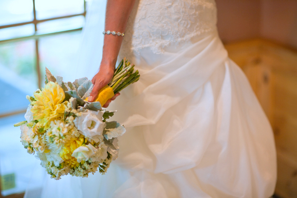 Yellow Grey & White Bridal Bouquet