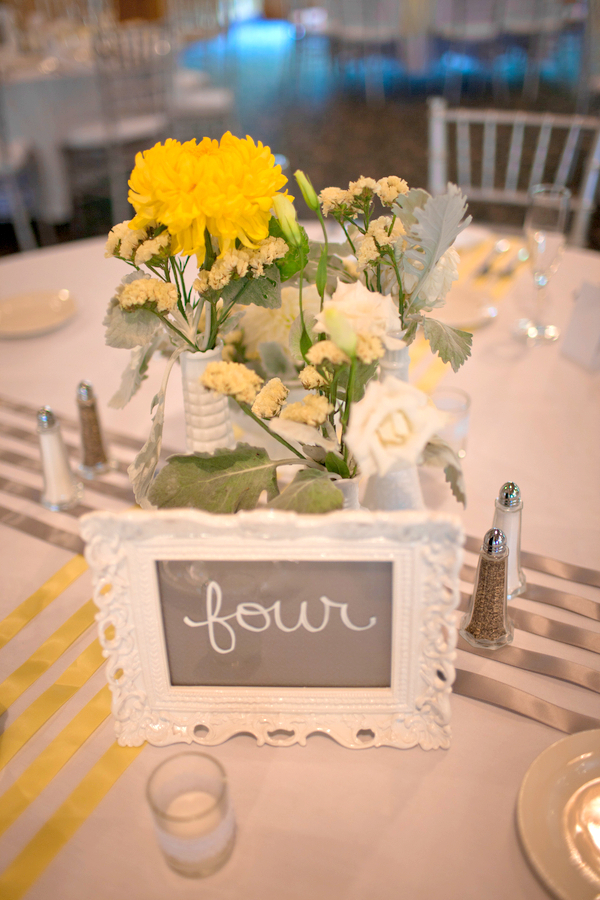 Yellow Grey & White Wedding Centerpiece