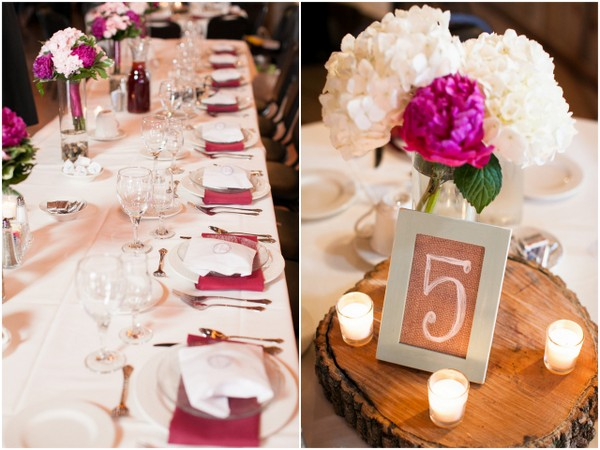 Burgundy & White Wedding Table Decorations