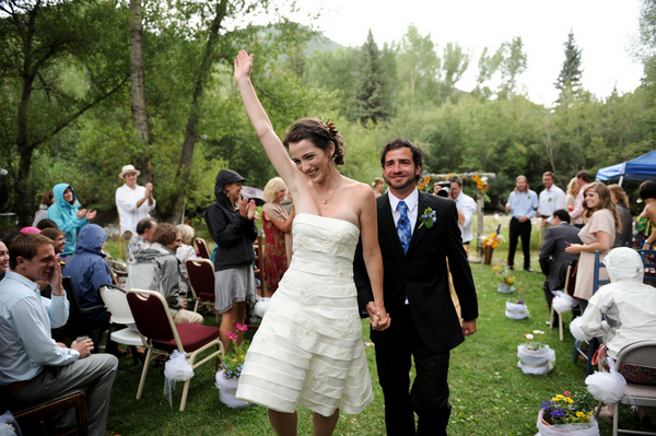 fun backyard ceremony colorado DIY Colorado Wedding by Heather Gray Photography