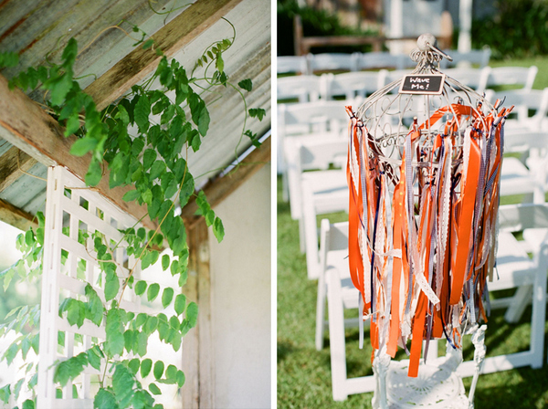 orange ribbons aisle decor Romantic Byron Bay Wedding with Orange Details
