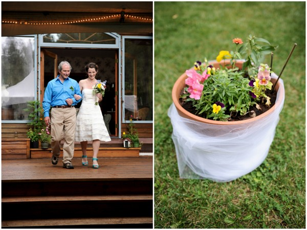 pot plant wedding aisle decor DIY Colorado Wedding by Heather Gray Photography