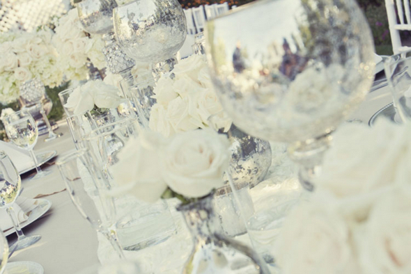 silver and white wedding tablescape Shabby Chic Silver and White Wedding by Mathew James Photographers