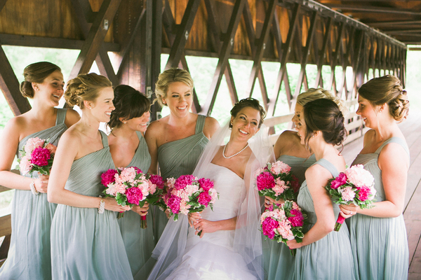 soft teal bridesmaids County Line Orchard Wedding by Jordan Quinn Photography