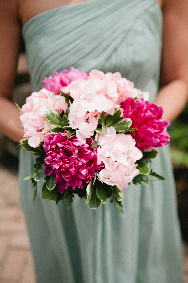 teal bridesmaid dress peony hydrangea bouquet County Line Orchard Wedding by Jordan Quinn Photography
