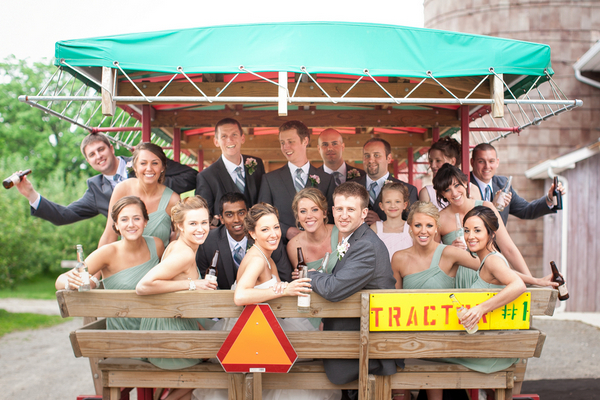 tractor ride wedding party County Line Orchard Wedding by Jordan Quinn Photography