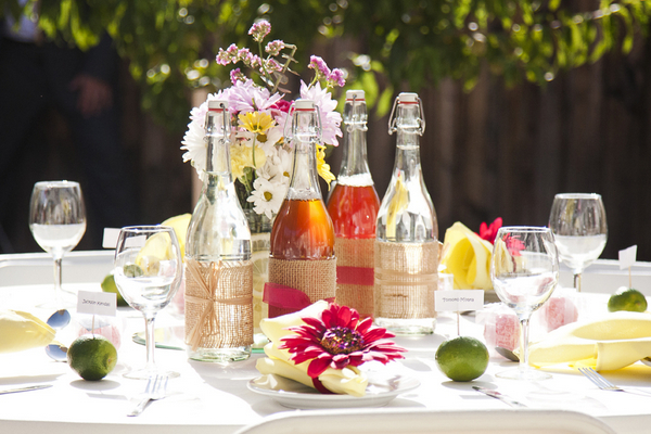 DIY Garden Wedding Table Decorations