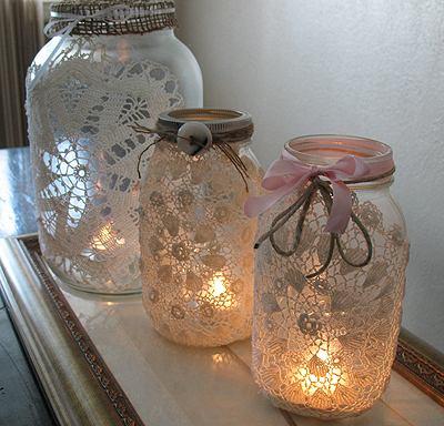 Doily Covered Mason Jars