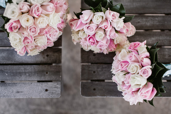 Pastel Pink & White Rose Bouquets