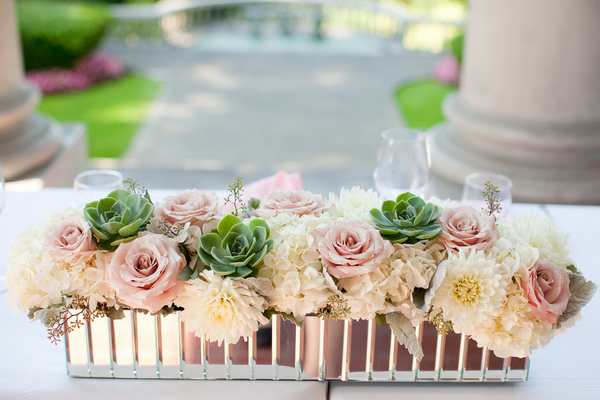 Romantic Wedding Centrepiece with Pastel Pink Roses & Succulents