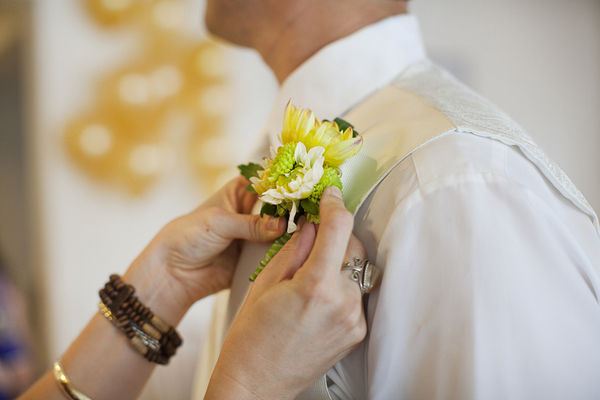 Yellow Boutonniere for Garden Wedding