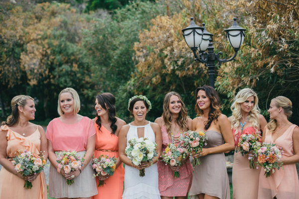 coral-pink-mismatched-bridesmaids