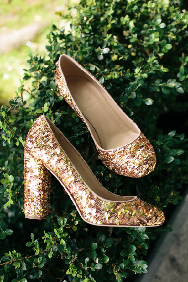 Gold Sequinned Wedding Shoes