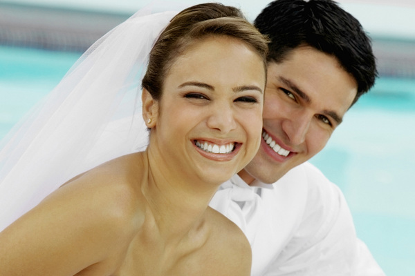 Smiling Bride & Groom
