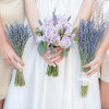 Lavender Bouquets Gold Dresses