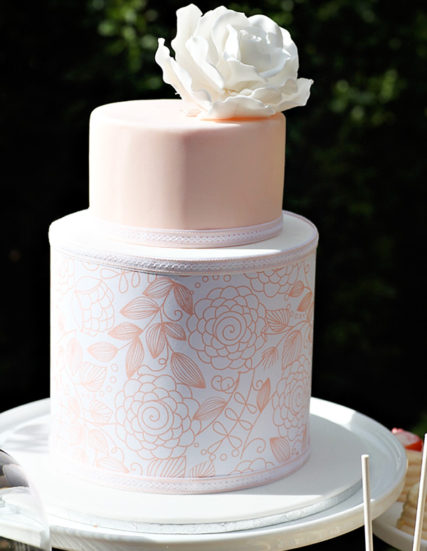 peach white and silver wedding cake cake inspiration and white wedding cake 18154